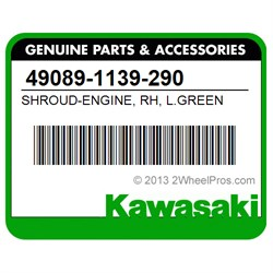 KAWASAKI 49089-1139-290 SHROUD-ENGINE, RH, L.GREEN