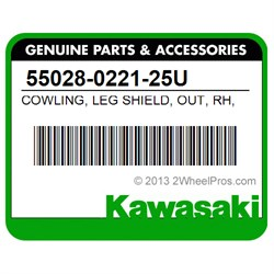 KAWASAKI 55028-0221-25U COWLING,LEG SHIELD,OUT,RH,BLUE