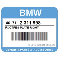 BMW 46712311998 FOOTPEG PLATE RIGHT